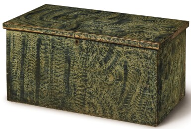 View 1. Thumbnail of Lot 1479. VINEGAR GRAIN PAINT-DECORATED PINE BLANKET CHEST, NEW ENGLAND, CIRCA 1825.