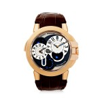 HARRY WINSTON | REFERENCE 400-MATZ44R  A PINK GOLD AUTOMATIC DUAL TIME WRISTWATCH WITH DATE, CIRCA 2009