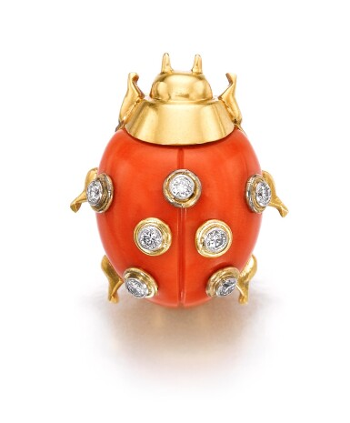 View 1. Thumbnail of Lot 624. Cartier | Coral and diamond clip, 'COCCINELLE' | 卡地亞 | 珊瑚配鑽石「COCCINELLE」別針.