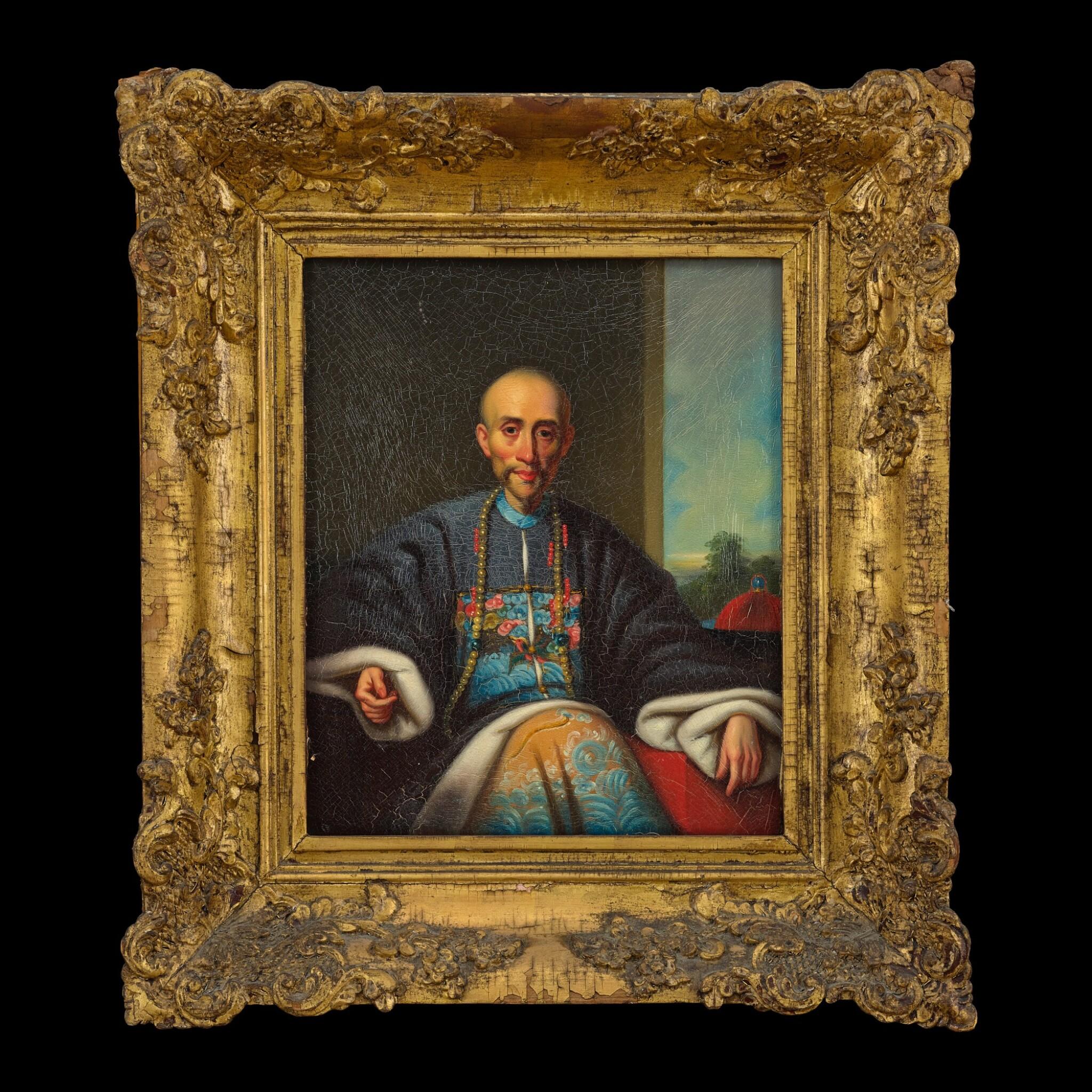 View full screen - View 1 of Lot 181. Lamqua (fl. 1820-1860) Portrait of the Hong Merchant Howqua | 林呱(活躍於1820-1860年) 浩官畫像 布本油畫 木框.