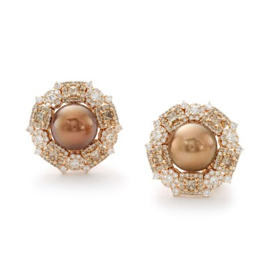 View 1. Thumbnail of Lot 4. MICHELE DELLA VALLE   PAIR OF CULTURED PEARL AND DIAMOND EARRINGS.