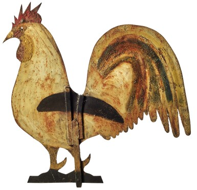 AMERICAN POLYCHROME PAINT-DECORATED SHEET-IRON ROOSTER WEATHERVANE, CIRCA 1870