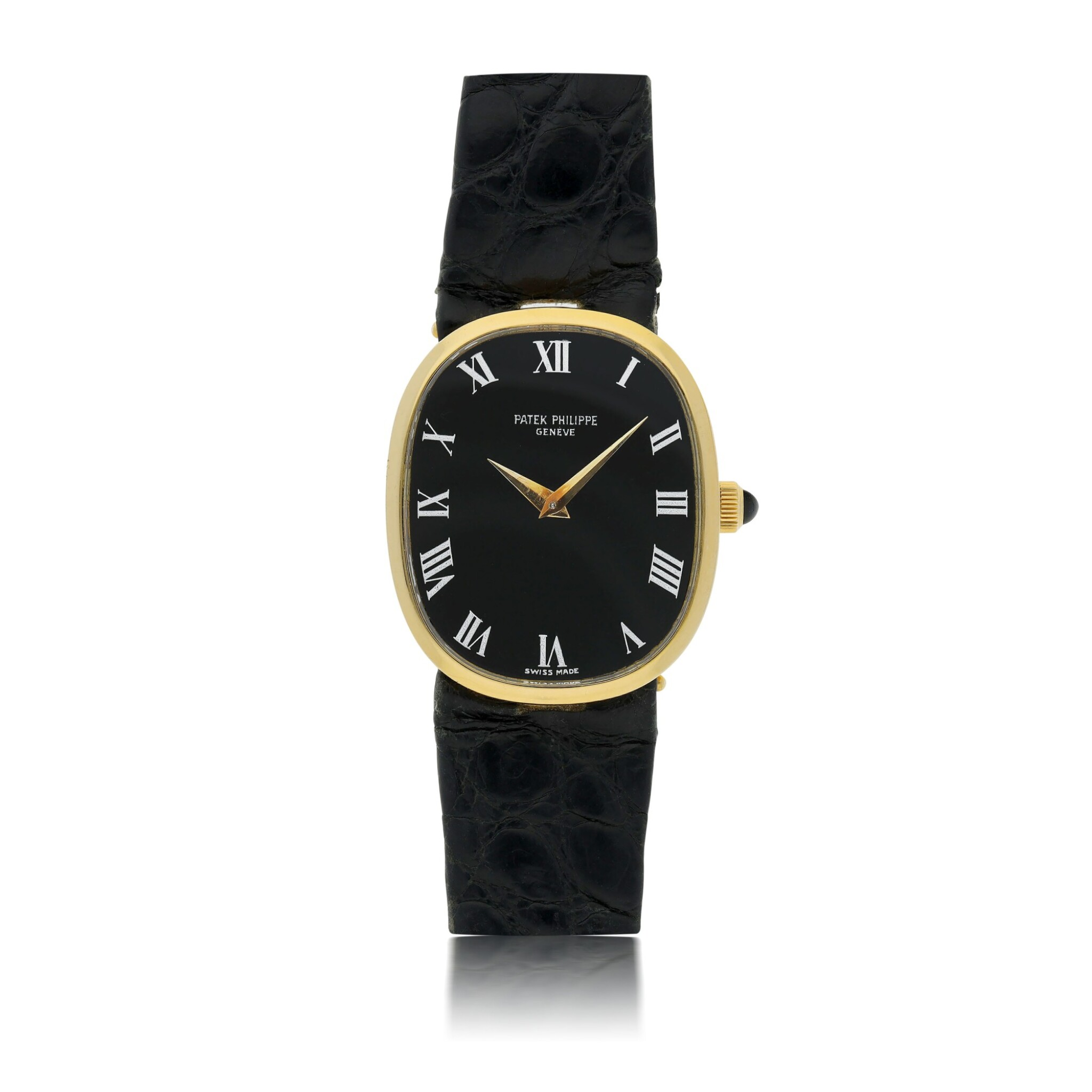 View full screen - View 1 of Lot 125. PATEK PHILIPPE   REF 3748/900 ELLIPSE, A YELLOW GOLD OVAL WRISTWATCH CIRCA 1985.