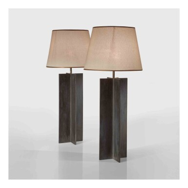 """View 1. Thumbnail of Lot 351. Pair of """"Croisillon"""" Table Lamps."""