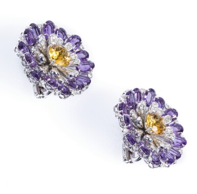 View 2. Thumbnail of Lot 67. Pair of amethyst, citrine and diamond ear clips, Michele della Valle.