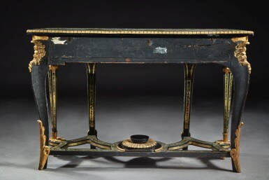 TWO LATE LOUIS XIV/EARLY REGENCE GILT BRONZE MOUNTED EBONY, TORTOISESHELL AND BRASS MARQUETRY CONSOLE TABLES ATTRIBUTED TO ANDRE-CHARLES BOULLE OR HIS WORKSHOP, CIRCA 1720