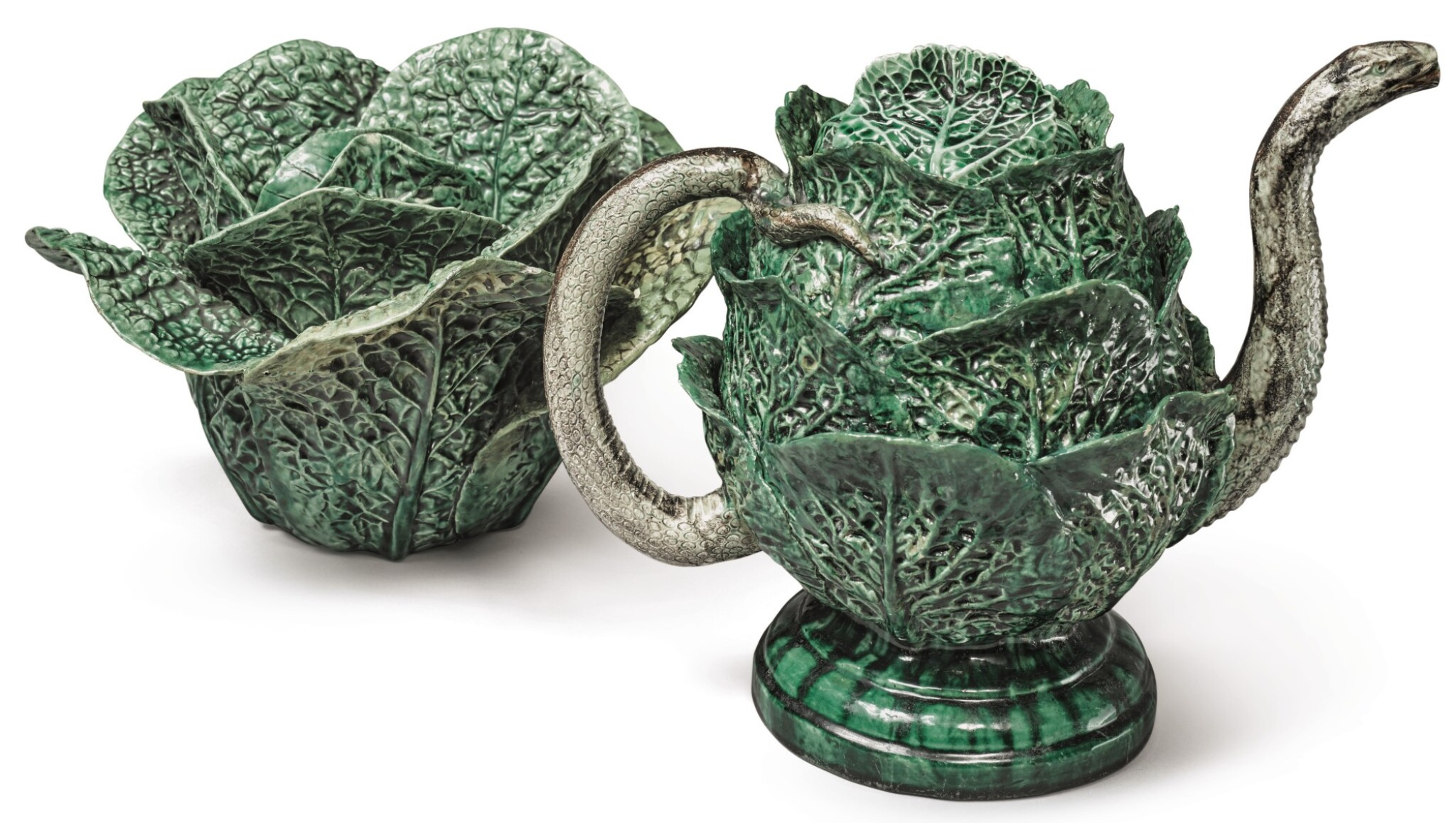 View full screen - View 1 of Lot 151.  A PORTUGUESE MAJOLICA SNAKE AND CABBAGE-FORM TEAPOT AND COVER, LATE 19TH CENTURY .