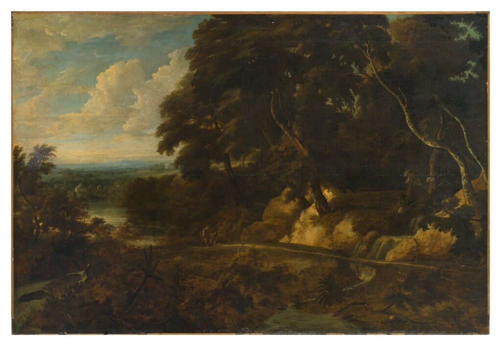 ROELANT ROGHMAN   AN EXTENSIVE LANDSCAPE WITH FIGURES ALONG A PATH