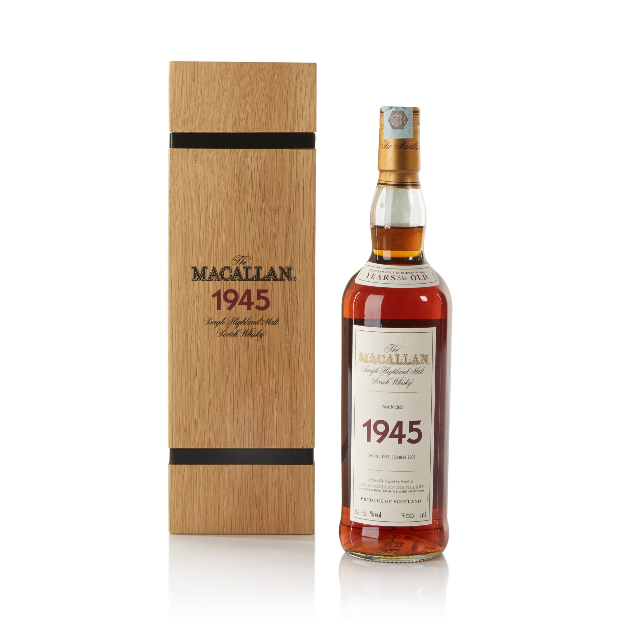View full screen - View 1 of Lot 40. The Macallan Fine & Rare 56 Year Old 51.5 abv 1945 .