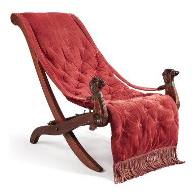 A NEO-GRECIAN STAINED OAK CURULE CAMPAIGN CHAIR WITH DOG HEADS, LATE 19TH CENTURY
