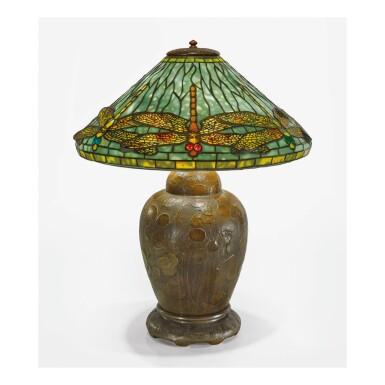 "View 1. Thumbnail of Lot 25. TIFFANY STUDIOS | ""DRAGONFLY"" TABLE LAMP."