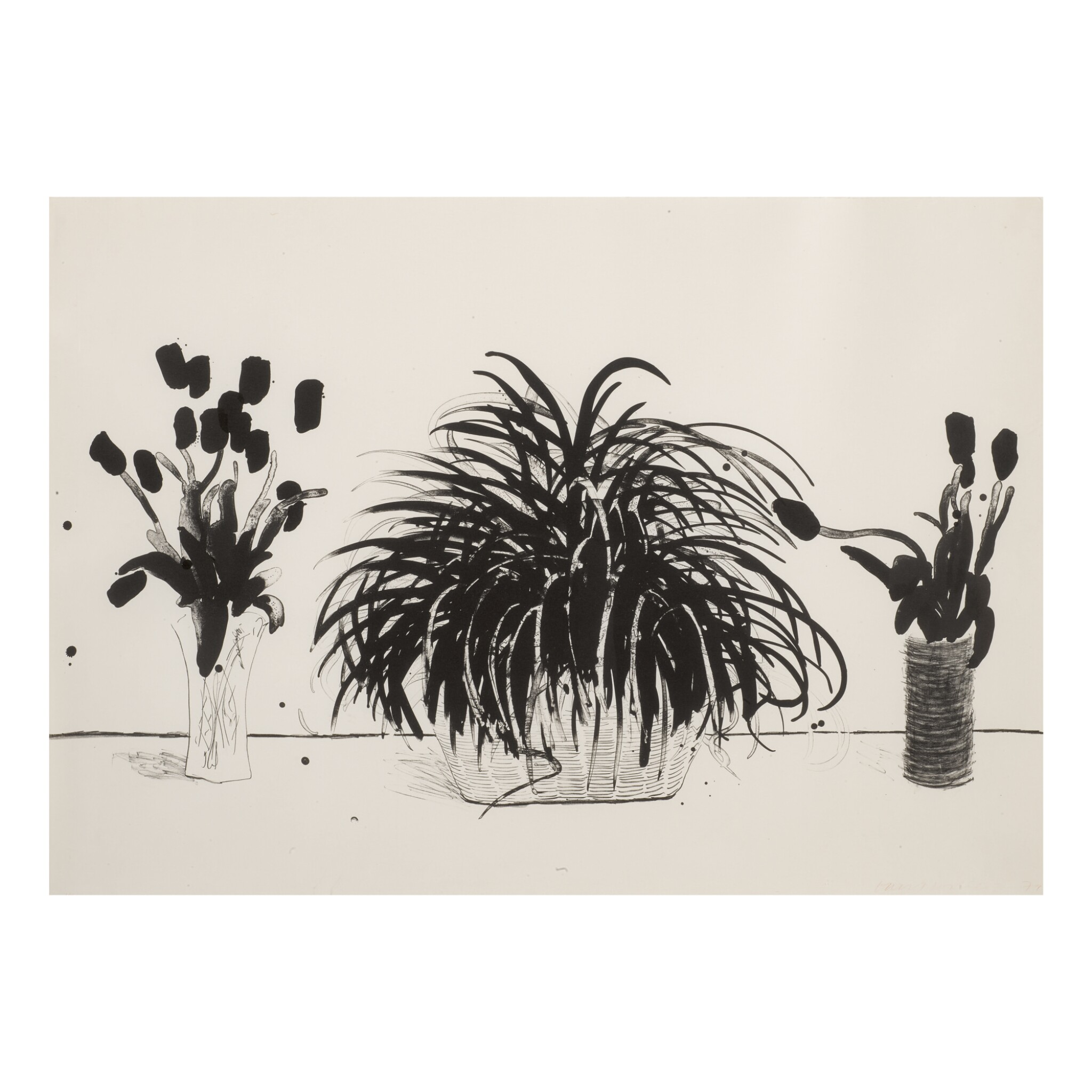 View full screen - View 1 of Lot 211. DAVID HOCKNEY | TWO VASES OF CUT FLOWERS AND LIRIOPE PLANT (MUSEUM OF CONTEMPORARY ART, TOKYO 232).