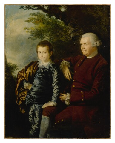 View 1. Thumbnail of Lot 656. Portrait of a gentleman and a boy in a landscape.