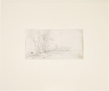 View 2. Thumbnail of Lot 218. JAN JOSEFSZ. VAN GOYEN     VIEW ALONG A ROAD TOWARDS A VILLAGE, WITH TREES TO THE LEFT.
