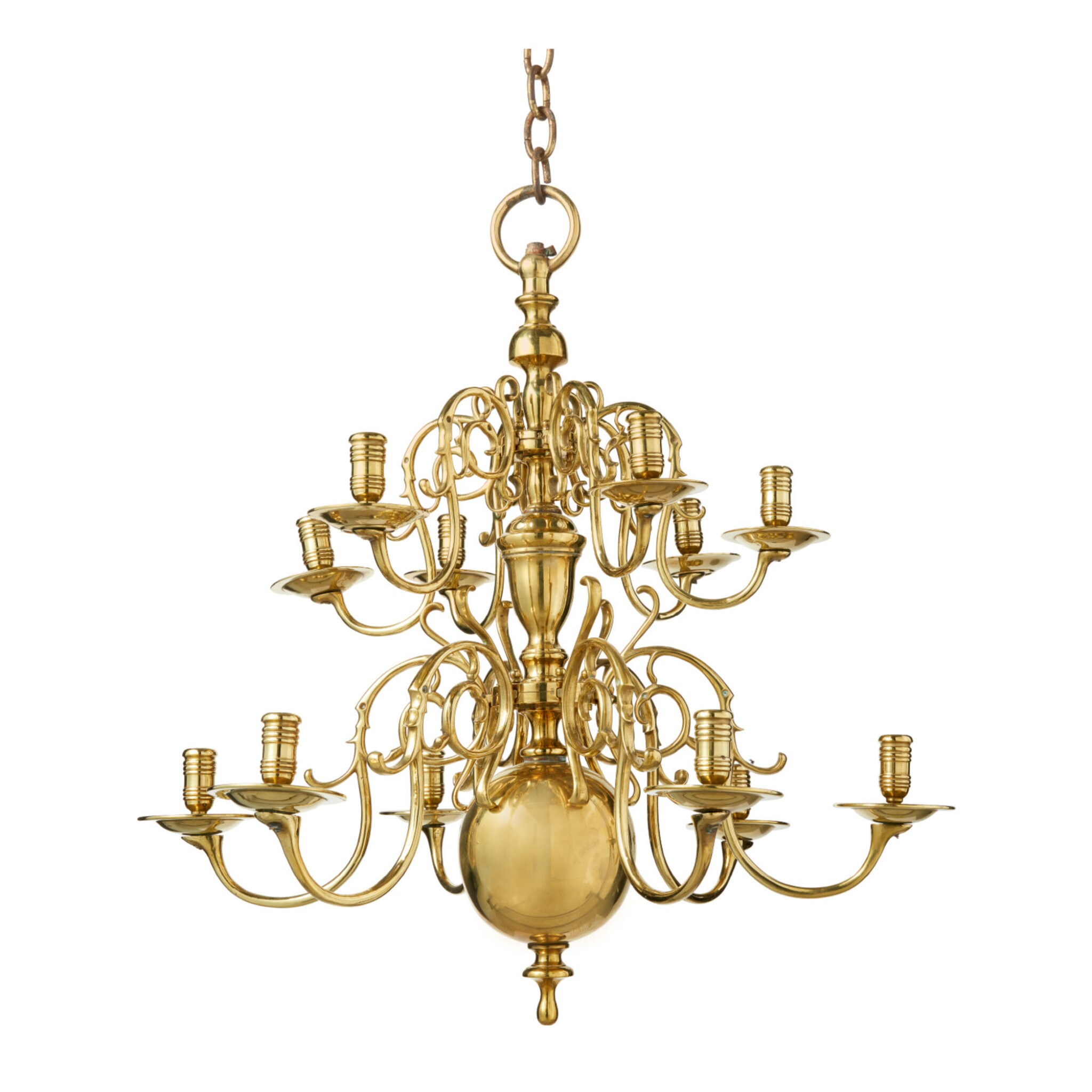 View 1 of Lot 509. A DUTCH BAROQUE BRASS TWELVE-LIGHT CHANDELIER, LATE 17TH CENTURY AND LATER.