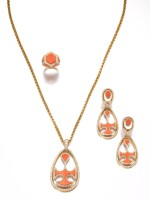 Cartier | Coral, rock crystal and diamond demi-parure and a ring, circa 1970 | 卡地亞 | 珊瑚配白水晶及鑽石首飾套裝、戒指一枚,約1970年