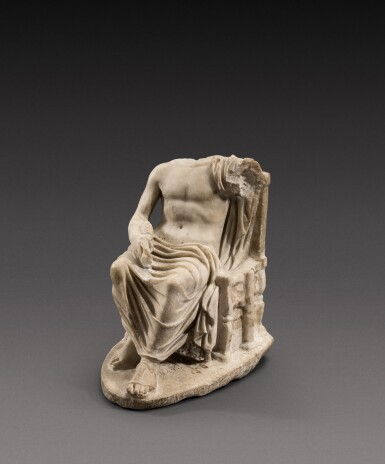 View 2. Thumbnail of Lot 65. A Roman Marble Figure of Zeus, circa 2nd Century A.D..
