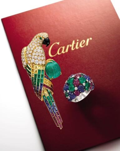 View 2. Thumbnail of Lot 1657. Cartier | Gem Set, Diamond and Onyx Brooch | 卡地亞 | 寶石 配 鑽石 及 縞瑪瑙 胸針.