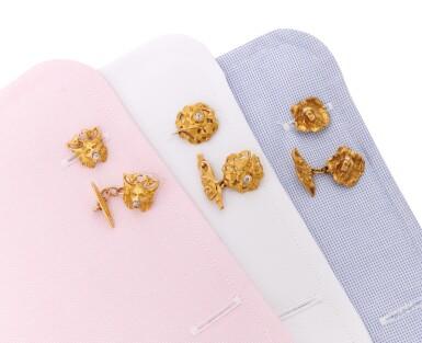 THREE PAIRS OF DIAMOND CUFFLINKS   (TRE PAIA DI GEMELLI CON DIAMANTI)