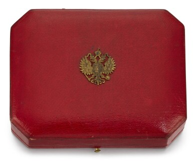 View 5. Thumbnail of Lot 8. An Imperial Presentation jewelled, gold and guilloché enamel cigarette case, workmaster Carl Blank for Hahn, St Petersburg, circa 1896.