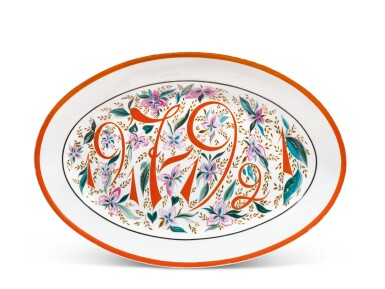 1917-1921: A Soviet porcelain platter, State Porcelain Factory, Petrograd, 1921