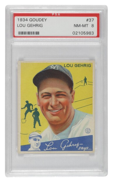 View 1. Thumbnail of Lot 133. Gehrig, Lou | A PSA Near Mint-Mint 8 example of Goudey's 1934 Lou Gehrig #37 card.
