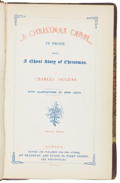 View 4. Thumbnail of Lot 109. Dickens, A Christmas Carol, 1846, eleventh edition, first Bradbury and Evans edition, author's copy with bookplate.