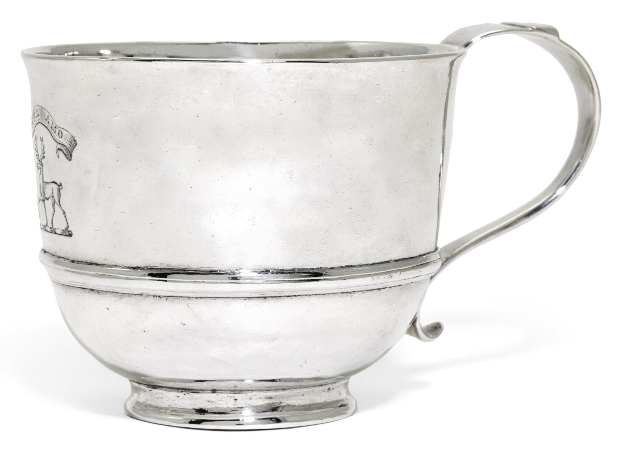 View full screen - View 1 of Lot 112. A GEORGE I SCOTTISH SILVER CUP, HENRY BETHUNE, EDINBURGH, 1716.