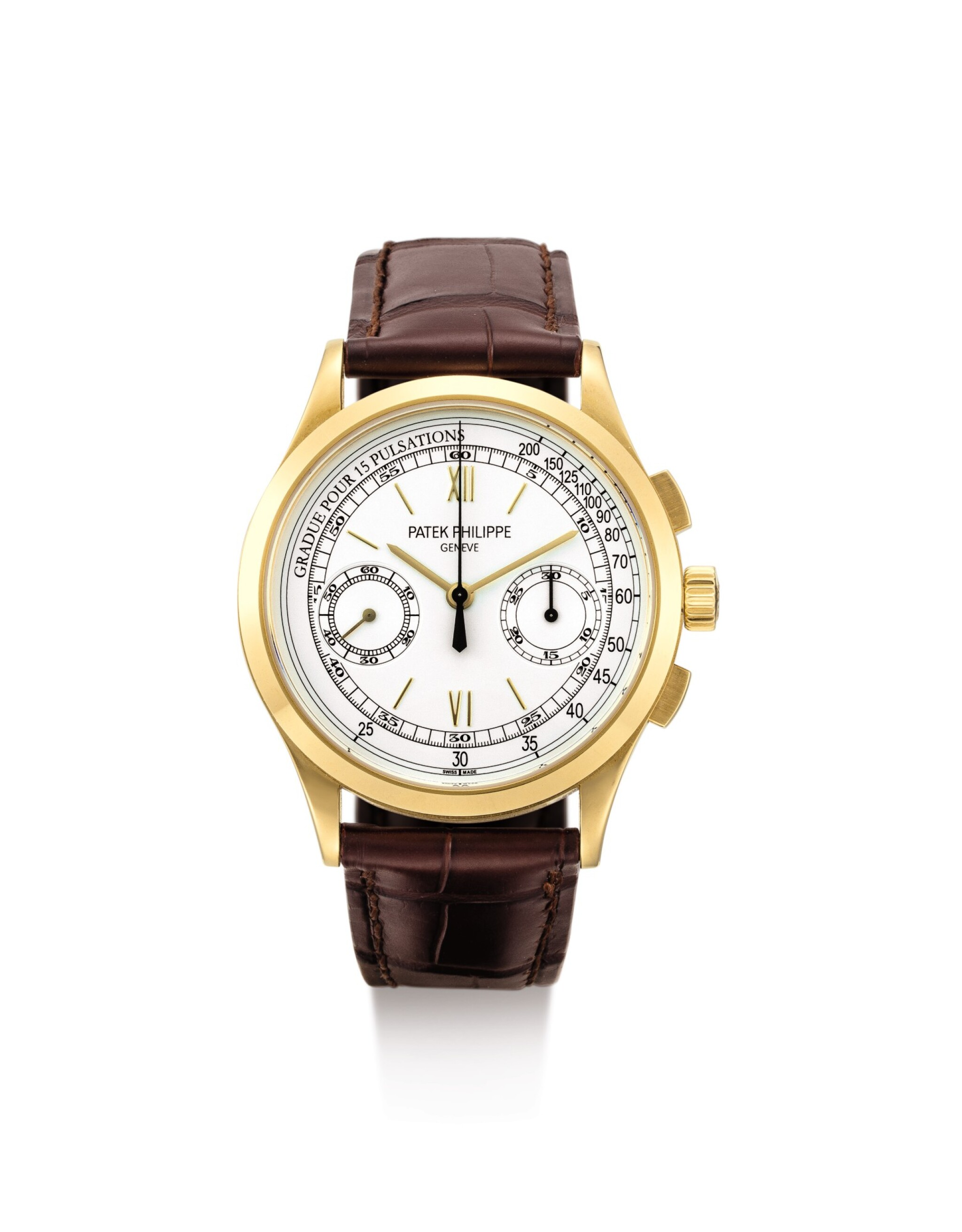 View 1 of Lot 33. PATEK PHILIPPE | REFERENCE 5170, A YELLOW GOLD CHRONOGRAPH WRISTWATCH WITH PULSATION SCALE, CIRCA 2011.
