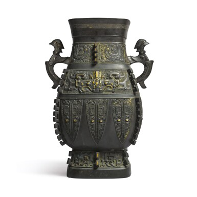 View 1. Thumbnail of Lot 621. AN ARCHAISTIC PARCEL-GILT SILVER-INLAID BRONZE VESSEL (HU),  QING DYNASTY, 18TH CENTURY.