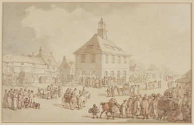 THOMAS ROWLANDSON | Market day in a country town, possibly Brackley, Northamptonshire