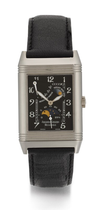 View 1. Thumbnail of Lot 21. JAEGER LECOULTRE | REVERSO NIGHT AND DAY, REFERENCE 270.3.63, WHITE GOLD REVERSIBLE RECTANGULAR WRISTWATCH WITH MOON-PHASES, POWER-RESERVE AND DAY/NIGHT INDICATION, CIRCA 2000.