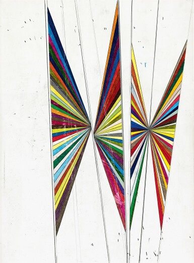 View 1. Thumbnail of Lot 528. Mark Grotjahn 馬克・格羅亞恩   Untitled (Colored butterfly white background 4 wings) 無題(彩色蝴蝶白色背景四翅膀).