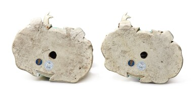 View 4. Thumbnail of Lot 446. A Rare Pair of Chinese Export 'Nodding Head' Figures, Qing Dynasty, Qianlong Period | 清乾隆  粉彩點頭式人物立像一對.