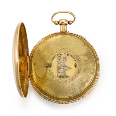 View 3. Thumbnail of Lot 279. SWISS   A GOLD QUARTER REPEATING WATCH WITH CONCEALED EROTIC AUTOMATON, CIRCA 1820.