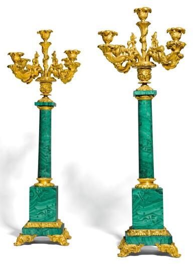 A PAIR OF RUSSIAN GILT-BRONZE MOUNTED MALACHITE FIVE-LIGHT CANDELABRA SECOND QUARTER 19TH CENTURY