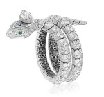 GRAFF | DIAMOND AND EMERALD 'SERPENTINE' BRACELET-WATCH 格拉夫 | 鑽石配祖母綠「Serpentine」手鏈腕錶