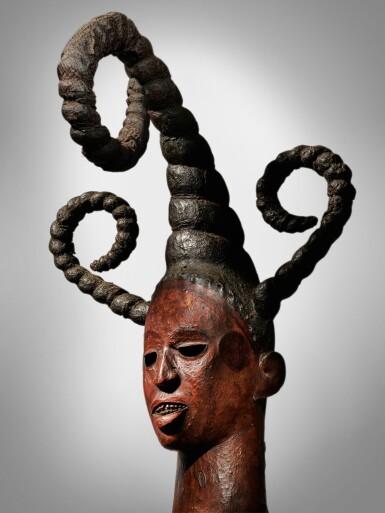 View 1. Thumbnail of Lot 67. Ibibio-Efik Headdress, Cross River Region, Nigeria.