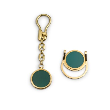 View 3. Thumbnail of Lot 726. GILT METAL AND ENAMEL KEYCHAIN AND MONEY CLIP SET.