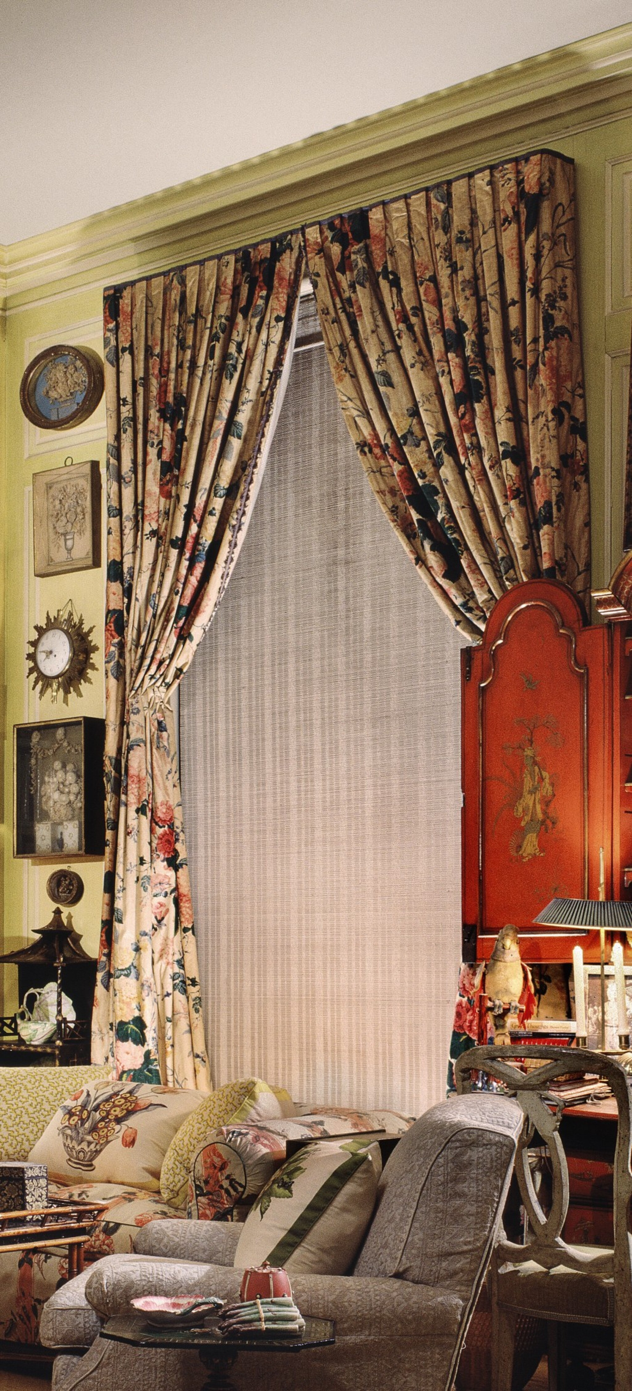View full screen - View 1 of Lot 159. A PAIR OF CURTAINS.