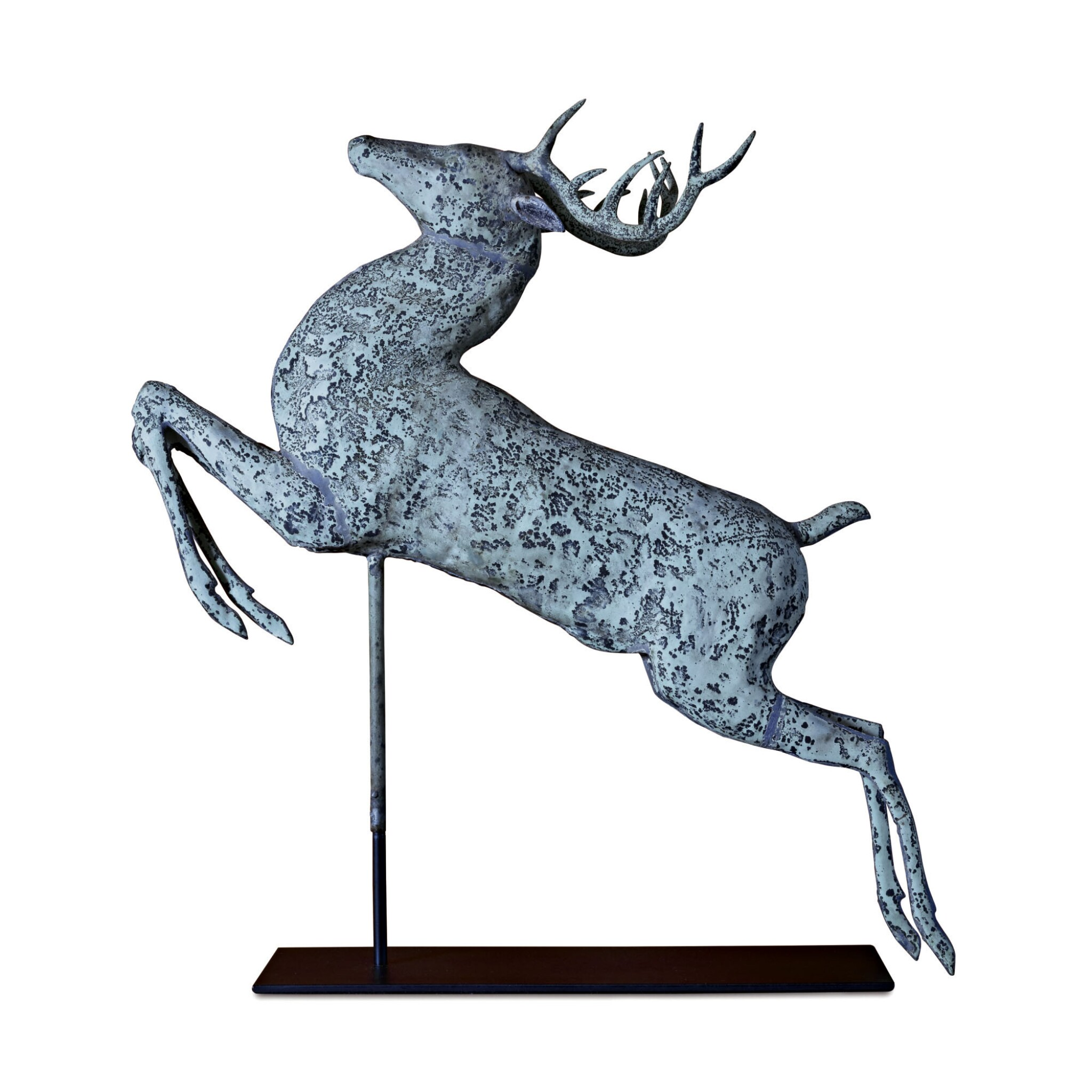 View full screen - View 1 of Lot 1. VERY FINE AND RARE MOLDED FULL BODIED SHEET COPPER LEAPING STAG WEATHERVANE, HARRIS & CO., BOSTON, MASSACHUSETTS, CIRCA 1880.
