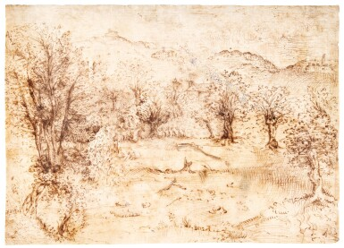 ITALO-FLEMISH SCHOOL, CIRCA 1550 | A WOODED LANDSCAPE WITH COTTAGES ALONG A HILLSIDE