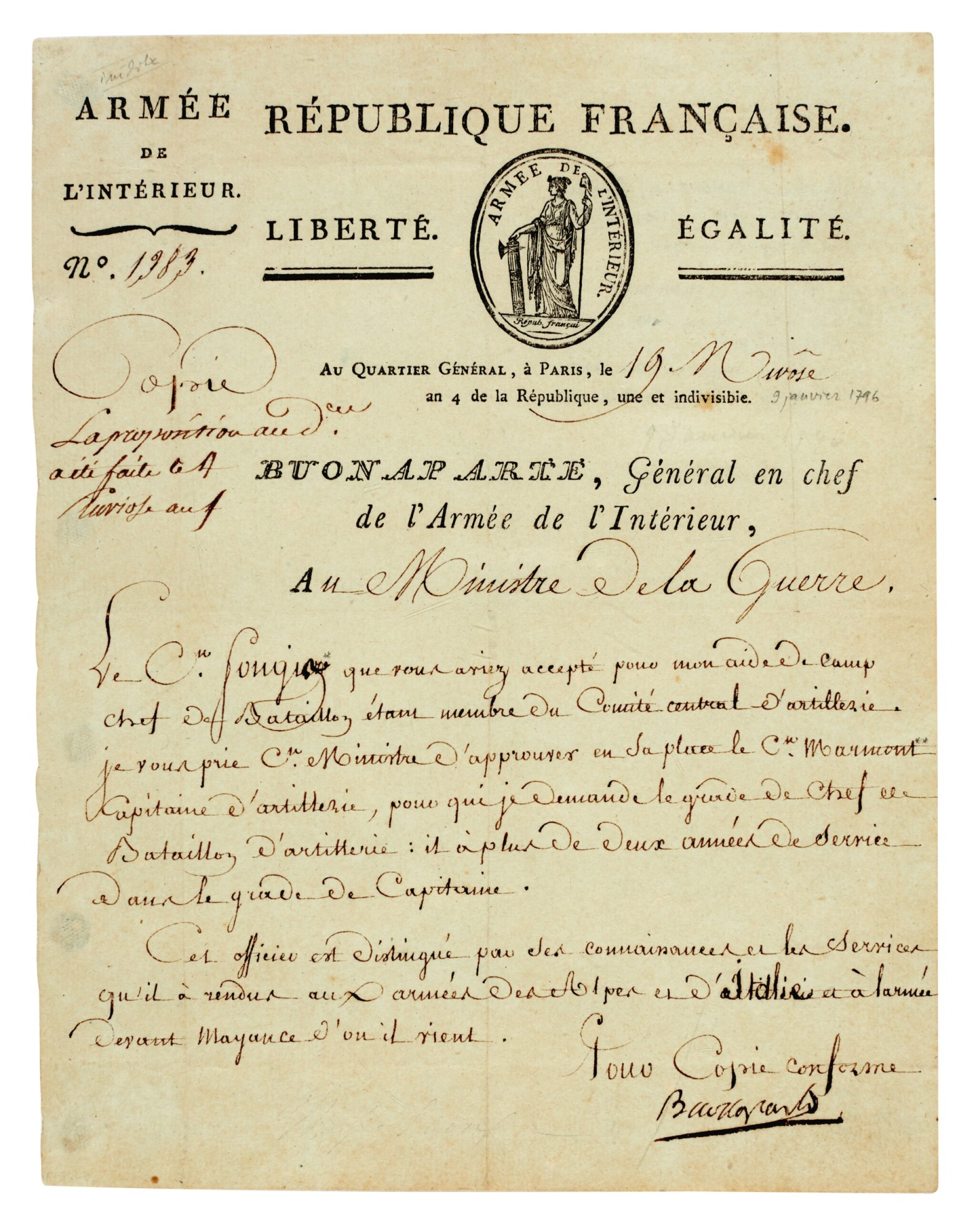 View full screen - View 1 of Lot 84. NAPOLEON I | early signed letter, as Commander-in-Chief of the Army of the Interior, to the Minister of War, [1796].