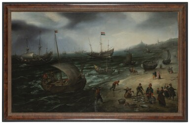 View 2. Thumbnail of Lot 31. The fishing fleet coming ashore at Scheveningen, their unloaded catch displayed for sale, and a whaler and a man o' war in the offing | 《在席凡寧根泊岸的漁船,漁夫卸載漁獲,海面上的捕鯨船和戰艦》.