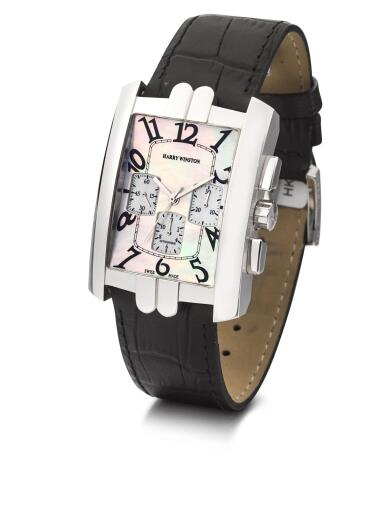 View 2. Thumbnail of Lot 8004. HARRY WINSTON   AVENUE CHRONO, REFERENCE 330/MCA,  A WHITE GOLD CHRONOGRAPH WRISTWATCH WITH MOTHER-OF-PEARL DIAL, CIRCA 2010.