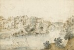 Recto: View Along the Tiber Verso: Sketch of a Rocky Grotto with Ruins