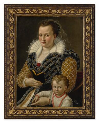 View 2. Thumbnail of Lot 6. SEBASTIANO MARSILI | PORTRAIT OF ALESSANDRA DI VIERI DE' MEDICI (B. 1549) AT AGE 32 WITH HER SON OTTAVIANO (B. 1577), THREE-QUARTER LENGTH.