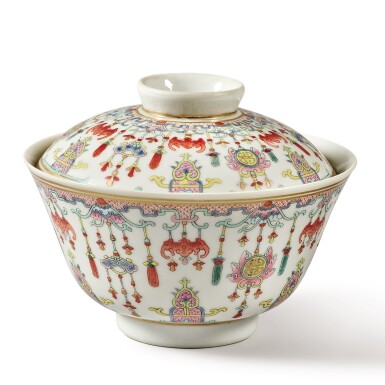 View 2. Thumbnail of Lot 175. A famille-rose 'bats and emblems' bowl and cover, Qing dynasty, Daoguang period | 清道光 粉彩博古圖蓋盌  《慎德堂製》款.