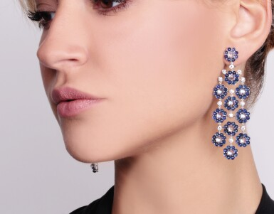 View 4. Thumbnail of Lot 91. Pair of sapphire, moonstone and diamond pendent earrings, Michele della Valle.