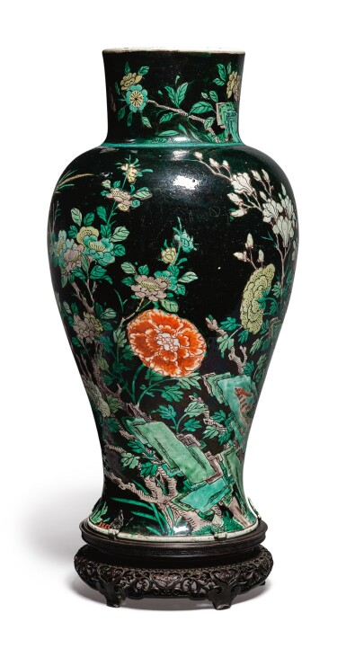 View 4. Thumbnail of Lot 1039.  A FAMILLE-NOIRE 'BIRD AND FLOWER' BALUSTER JAR,  QING DYNASTY, 19TH CENTURY.